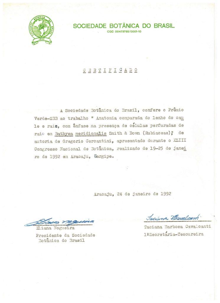 Documento Histórico: Primeira Premiação